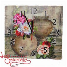 Годинник настінний Квіти у вазі IKB-1001