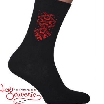 Чоловічі шкарпетки з червоною вишивкою СSH-1009