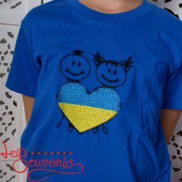 T-Shirt Blue and Yellow Heart PFС-1002