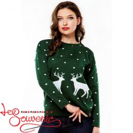 Knitted sweater with deers PSV-1034