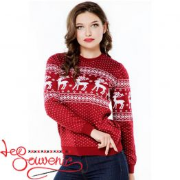 Knitted sweater with deers PSV-1036
