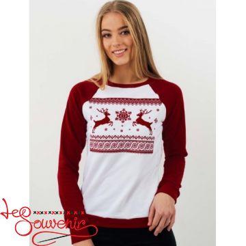 Свитшот Рождественский бордово-белый PSV-1051