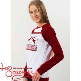 Світшот Різдвяний бордово-білий PSV-1051