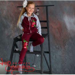 Детский спортивный костюм бордовый PSK-1010
