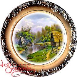 Тарелка Пейзаж с мельницей и домиком SKT-1012