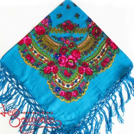 Blue shawl with flowers UH-1009