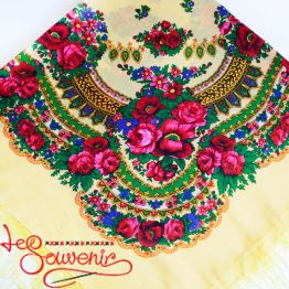 Creamy Shawl with flowers UH-1014