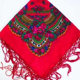 Red Shawl with Flowers UH-1015