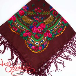 Claret Shawl with Flowers UH-1016