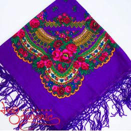 Violet Shawl with Flowers UH-1018