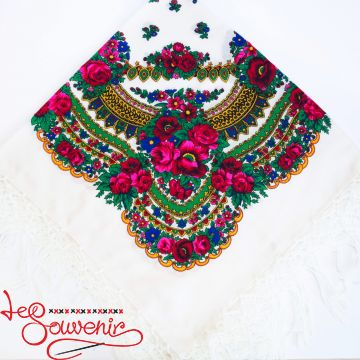 White Shawl with Flowers UH-1019