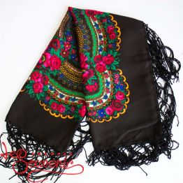 Black Shawl with Flowers UH-1020