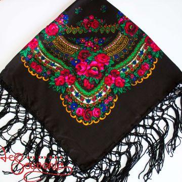 Платок чёрный с цветами UH-1020