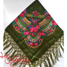 Olive Shawl with Flowers UH-1023