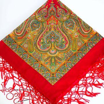 Хустка червона з орнаментом UH-1025