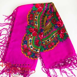 Pink shawl with flowers UH-1042