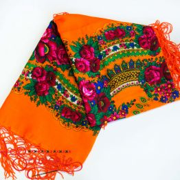 Orange shawl with flowers UH-1043