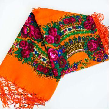 Orange shawl with flowers UH-1043