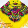 Yellow shawl with flowers UH-1044