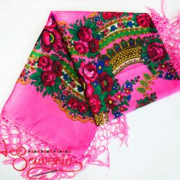 Bright pink shawl with flowers UH-1045