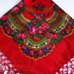 Red Shawl with Flowers with Lurex UH-1046
