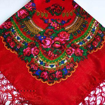 Хустка червона з квітами з люрексом UH-1046