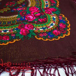 Claret Shawl with Flowers with Lurex UH-1047