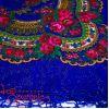 Платок синий с цветами с люрексом UH-1048