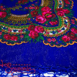Blue Shawl with Flowers with Lurex UH-1048