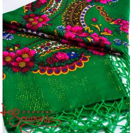 Green Shawl with Flowers with Lurex UH-1049