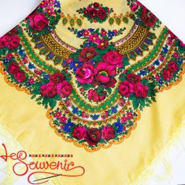 Creamy Shawl with flowers with Lurex UH-1050