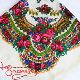 White Shawl with Flowers with Lurex UH-1051