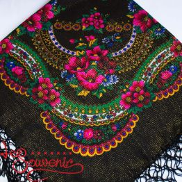 Black Shawl with Flowers with Lurex UH-1053