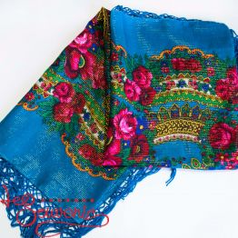Blue shawl with flowers with Lurex UH-1054
