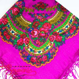 Pink shawl with flowers with lurex UH-1055