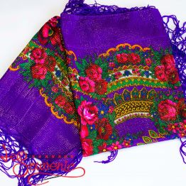 Violet Shawl with Flowers with Lurex UH-1056