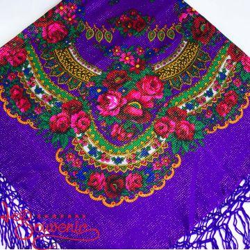 Платок фиолетовый с цветами с люрексом UH-1056