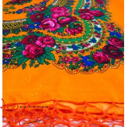 Orange shawl with flowers with lurex UH-1057