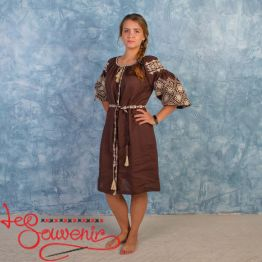 Embroidered Brown Dress Ivanna VSU-1005