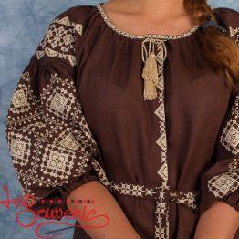 Вышитое платье Іванна коричневое VSU-1005