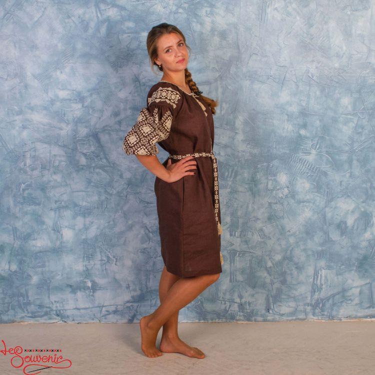 928342a71d69f50 Вышитое платье Іванна коричневое VSU-1005, купить в Киев, Запорожье ...