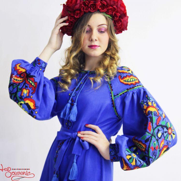 9819dc2ffe2eec3 Вышитое льняное платье синее VSU-1013, купить в Киев, Запорожье ...