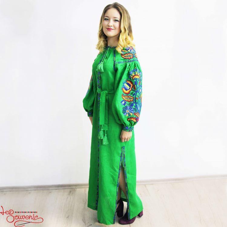 Вишита лляна сукня зелена VSU-1016 d744b91e96a6f
