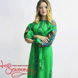 Вышитое льняное платье зелёное VSU-1016