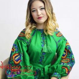 Вишита лляна сукня зелена VSU-1016