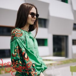 Вишита лляна сукня зелена VSU-1018