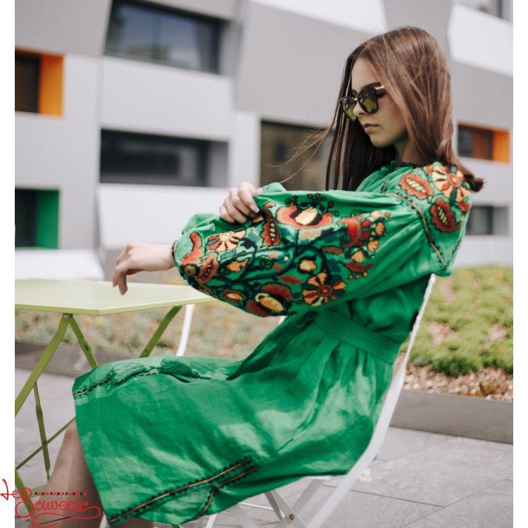 dec04147a1ee0fb Вышитое льняное платье зелёное VSU-1018, купить в Киев, Запорожье ...