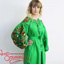 Вышитое льняное платье зелёное VSU-1018