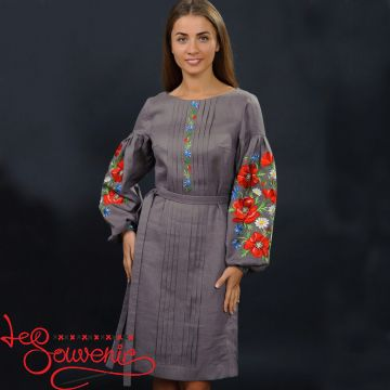 Embroidered Dress Charming poppies VSU-1021