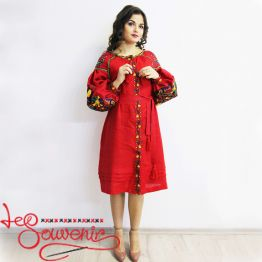 Embroidered Red Dress VSU-1031
